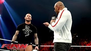 Batista returns and declares he's after Randy Orton's WWE World Heavyweight Title: Raw, Jan. 20, 201