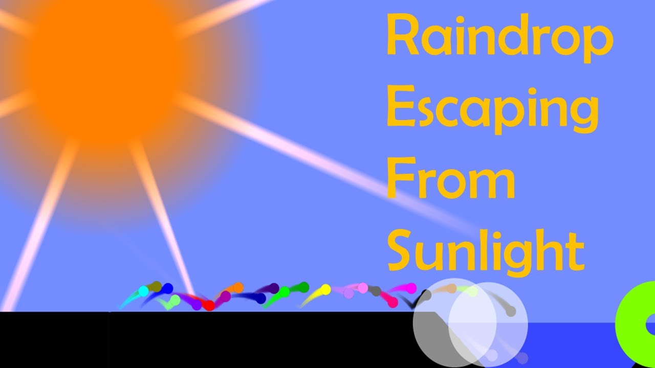 marble race  : Raindrop Escaping From Sunlight - Survival Marble Race In Algodoo