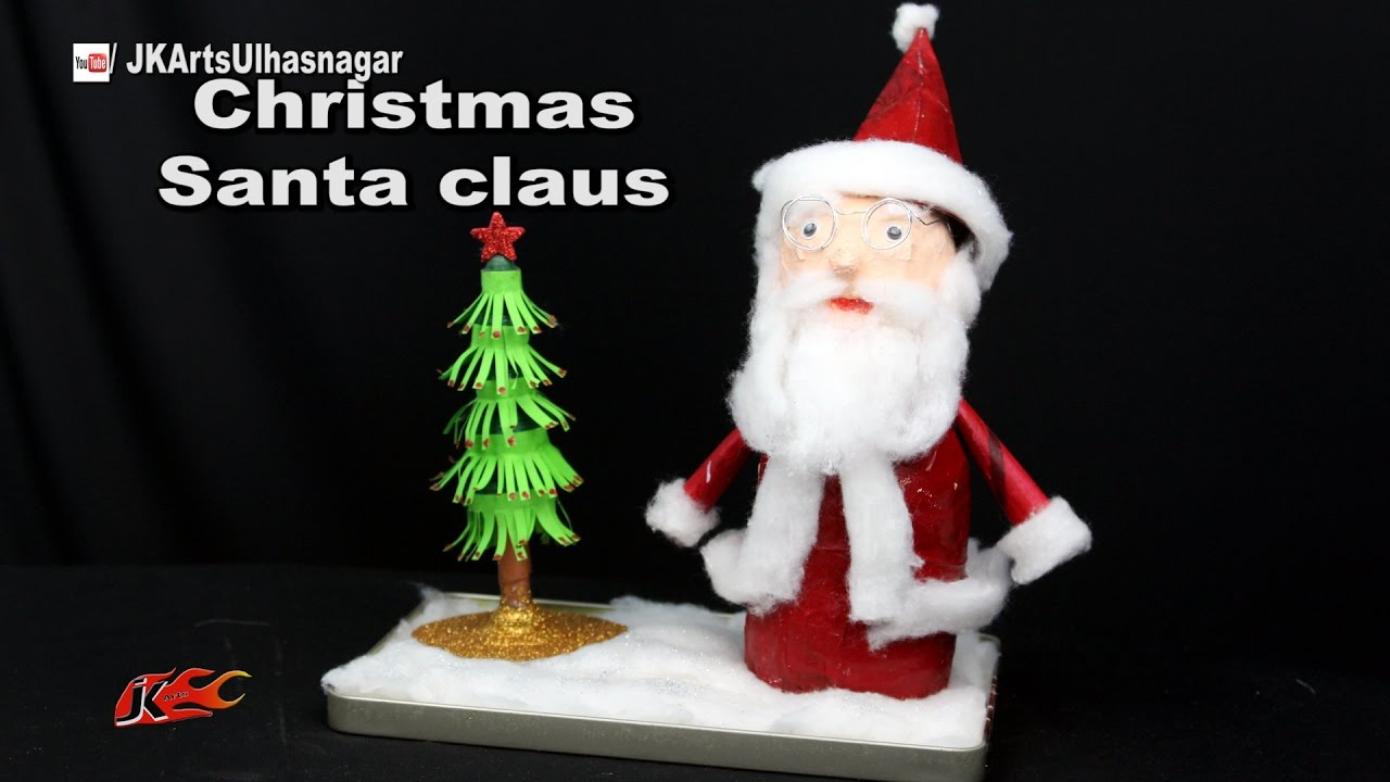 How To Make Santa Claus   Christmas Decoration   Best out of waste Bottles   JK Arts 1143 - YouTube
