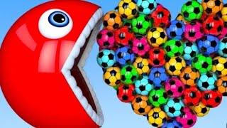 Learn colour Pacman 3D Heart Soccer Ball For kids