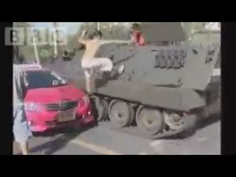 BBC REPORT Thai protesters take on tank 12 04 2009