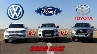 Amarok vs Ranger vs Hilux + DRAG RACE!