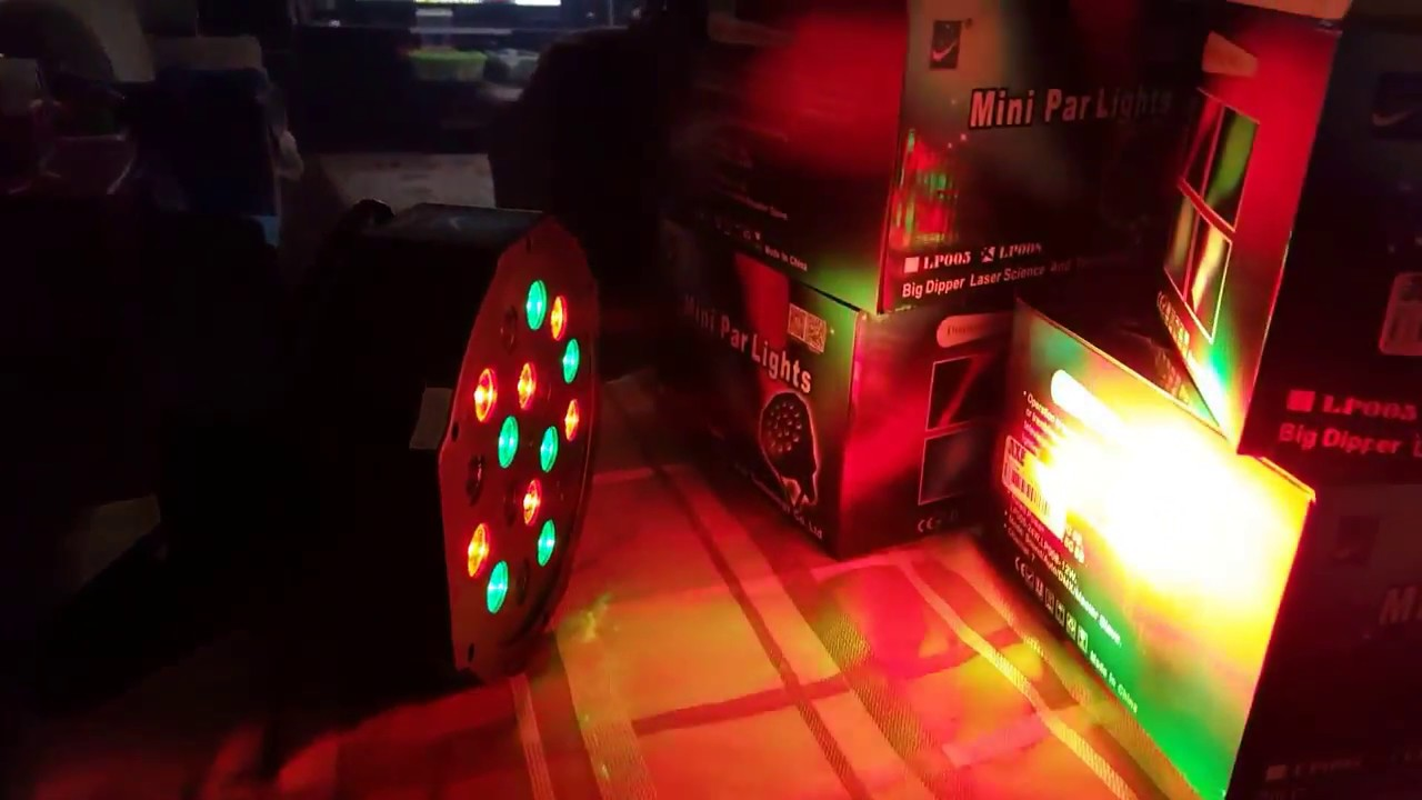RGB DMX 18 LED 512 Lighting for Disco Scene Evening with Music Sensor and  Automatic Handle