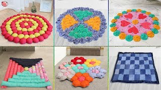 10 Best Easy !!! Doormat Making Idea From Old Saree & Clothes !!!