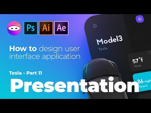 Tesla mobile app user experience design, speed art tutorial of photoshop manipulation, dribbble shot thumbnail