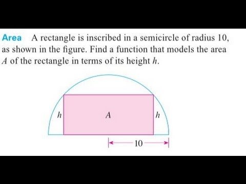 Find A Function That Models The Area A Of The Rectangle In