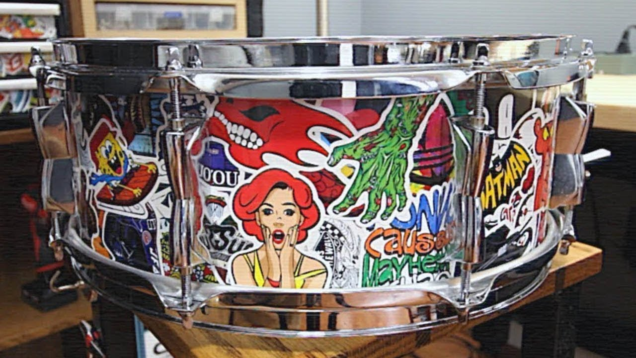 Sticker bomb snare drum