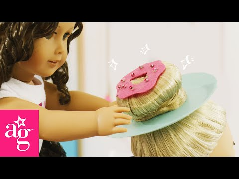 sparkly-donut-hairstyle-for-crazy-hair-day-|-dolled-up-with-american-girl-|-@american-girl