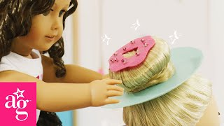 Sparkly Donut Hairstyle for Crazy Hair Day | Dolled Up With American Girl | American Girl