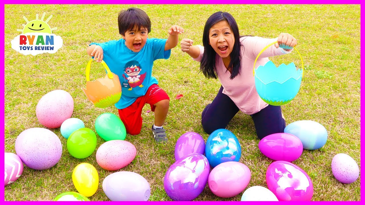 Huge Easter Egg Hunt Surprise Toys For Kids Outdoor Fun With Ryan Toysreview Youtube