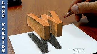 Floating letter W 3D Trick Art on Paper, Long Version
