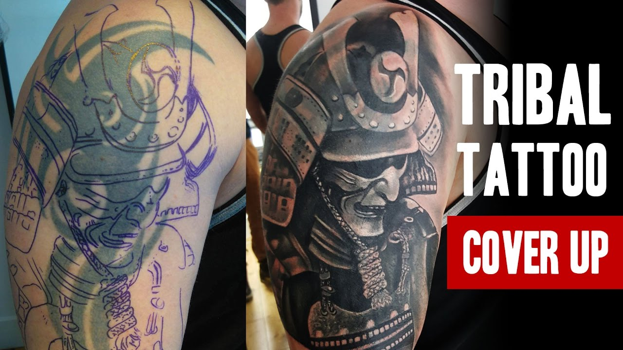 Tribal Tattoo Cover-up | One Session | Salvation Tattoo Studio - YouTube