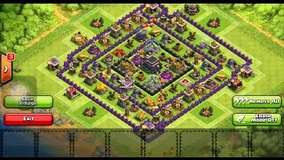 Clash of Clans town hall level 9 base design (with x-bow)