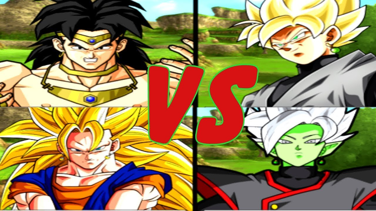 BROLY + VEGETTO (SS3) vs BALCK GOKU + ZAMASU - Bảy Viên Ngọc Rồng Siêu Cấp