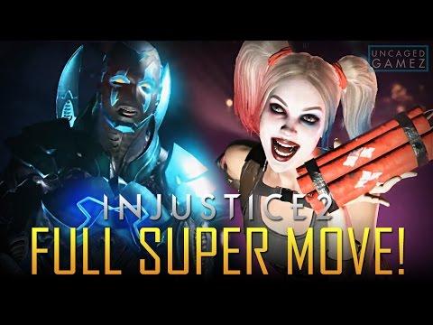 Injustice 2: Blue Beetle, Harley Quinn, & Wonder Woman Full Super Move! (Gamescom 2016)