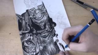 Drawing Challenge: Week 2. - Chaos Space Marine