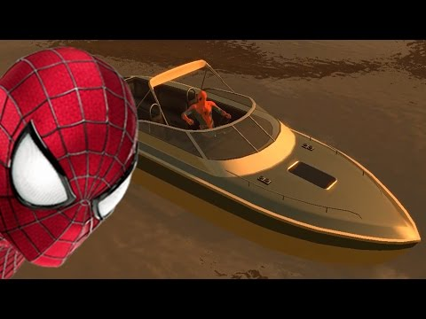 Spiderman floating in a boat on the river