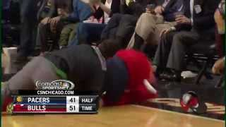 Bulls Fan Sinks Half-Court Shot, Gets Tackled by Benny the Bull
