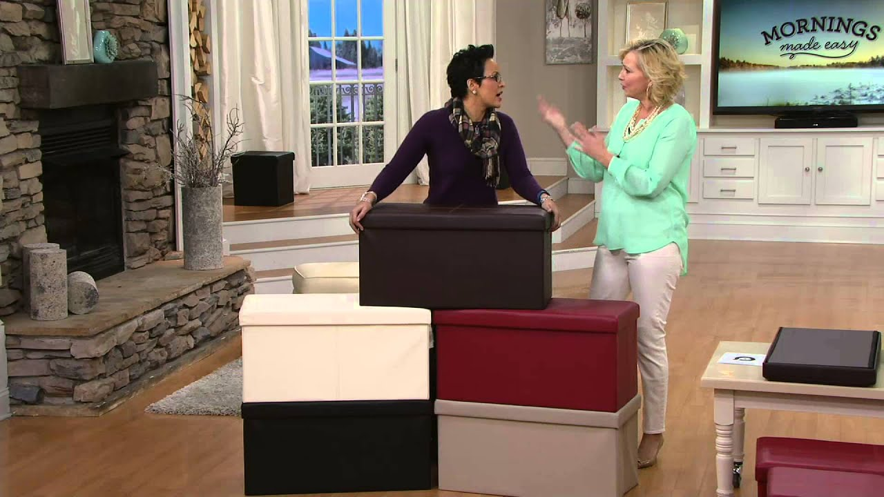 Faux Leather Folding 2 Pc. Ottoman Set Or Storage Bench By FHE On QVC