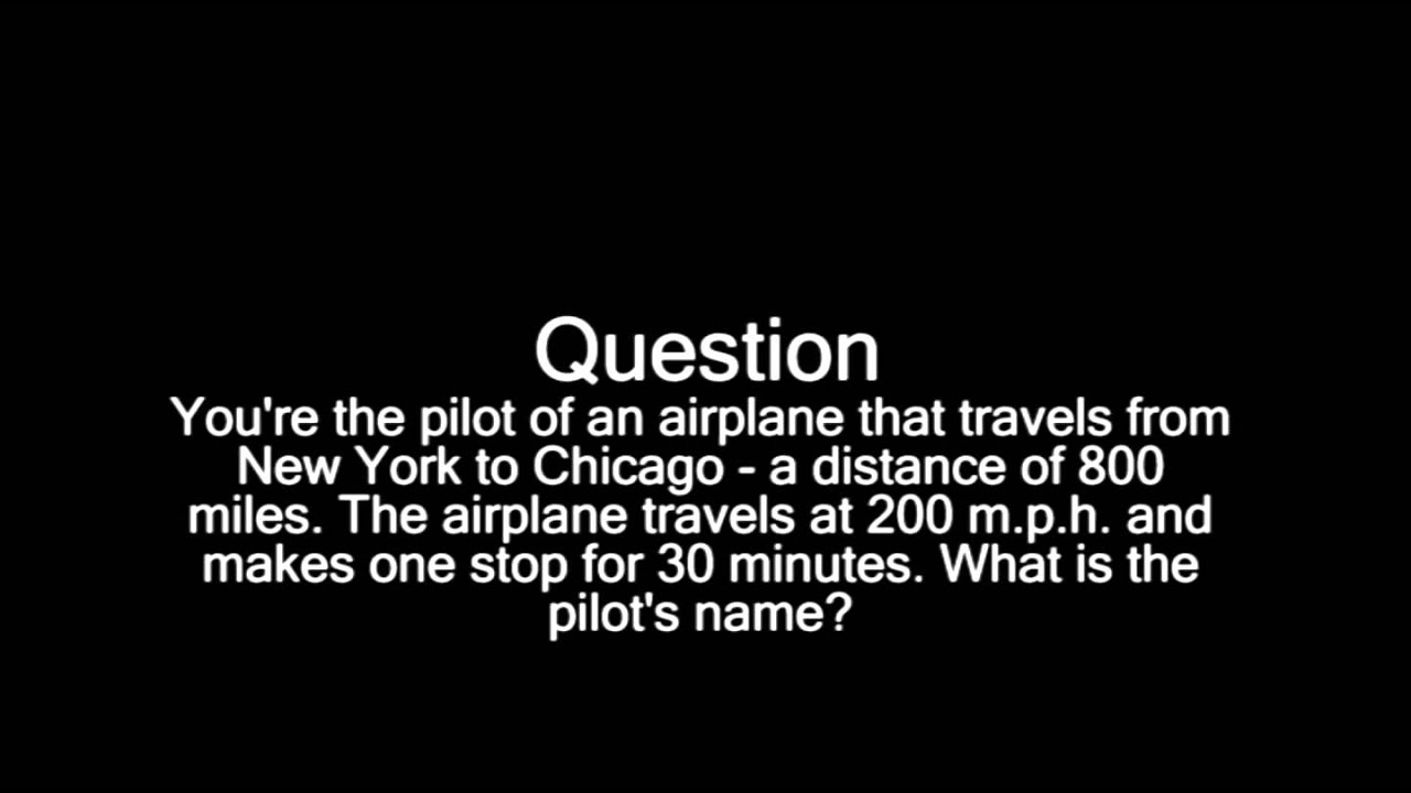 ... Great Trick Question, Brain Teaser) Answer at end of video. - YouTube