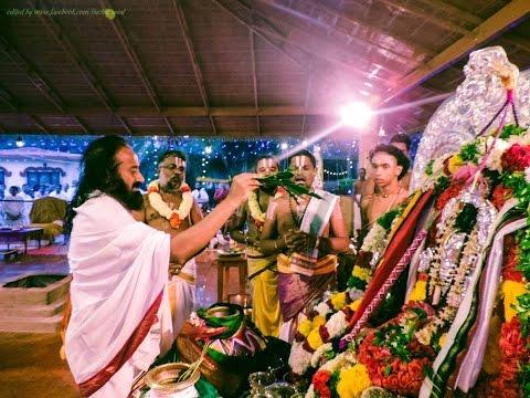 Sri Sri Ravi Shankar Guruji doing pooja at bangalore ashram