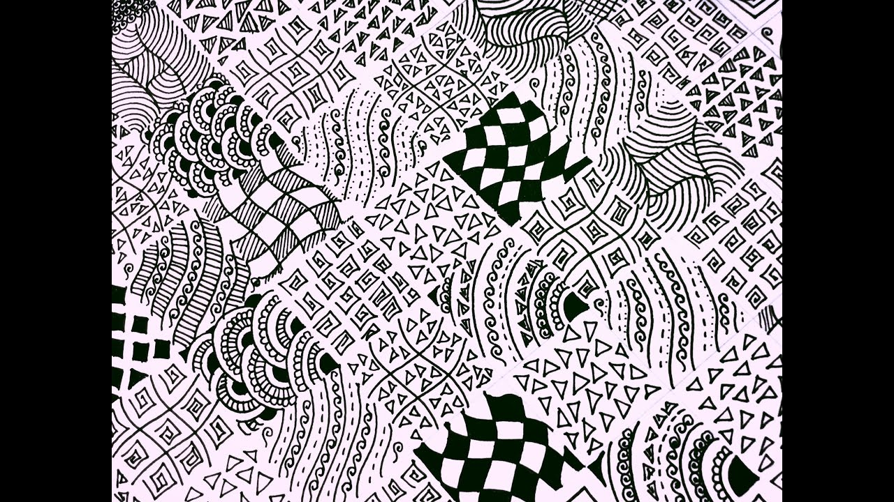 15 Easy Zentangle Patterns Full Page Zentangle Karthika Loves Diy Youtube