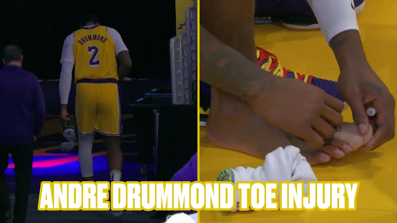 Andre Drummond leaves Lakers debut with toe injury