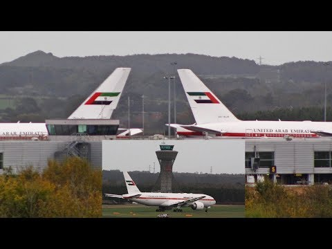 RARE 2 Abu Dhabi Amiri flight 777s departing Newcastle Airport