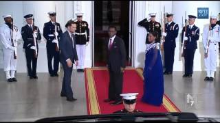 Equitorial Guinea president Teodoro Mbasogo & spouse Constancia arrive at the White House Diner