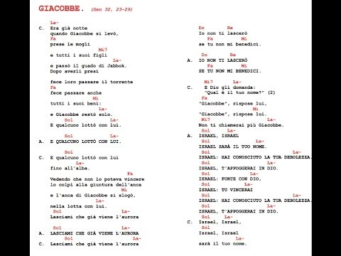 GIACOBBE. (Gen 32, 23-29) (RISUSCITO' ) CANTO DEL CAMMINO NEOCATECUMENALI