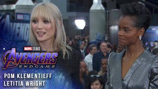 Letitia Wright and Pom Klementieff at the Premiere