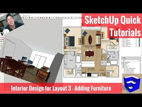SketchUp Interior Design for Layout Part 3 - Adding Furniture