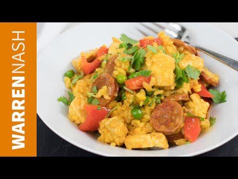 Chicken and Chorizo Paella Recipe – Easy Spanish Food – Recipes by Warren Nash