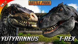 YUTYRANNUS VS TREX! FIRST COLISEUM BATTLE! Ark Survival Evolved Battle Park (Ragnarok)