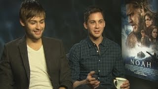 Douglas booth and logan lerman talk kissing emma watson, bunk beds and saving puppies