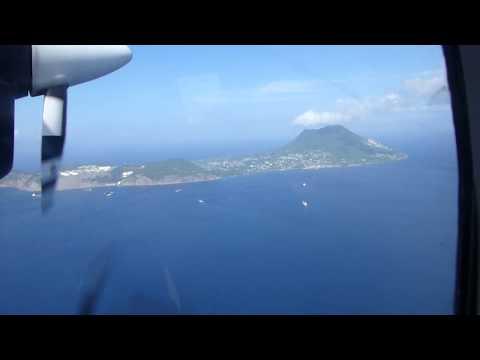 Landing at St. Eustatius in a Winair Twin Otter