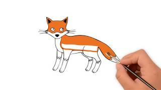 Learn How to draw a Fox  -  How to draw funny cartoons