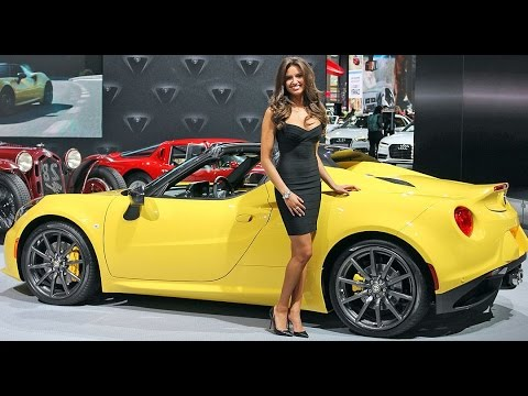 alfa romeo 4c spider with a hottt car model 2015 ny auto show youtube. Black Bedroom Furniture Sets. Home Design Ideas