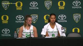 Sabrina Ionescu and Satou Sabally Drake Post Game thumbnail