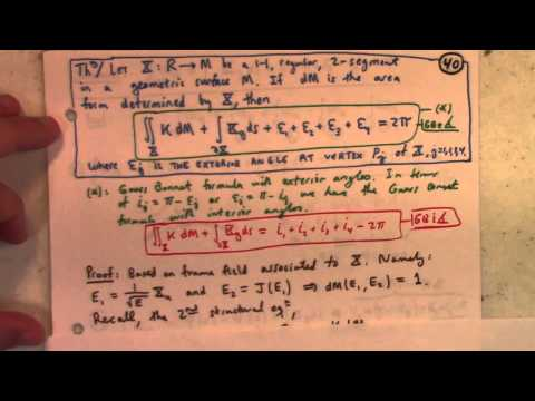 Differential Geometry: Lecture 27 part 1: Gauss Bonnet Theorem