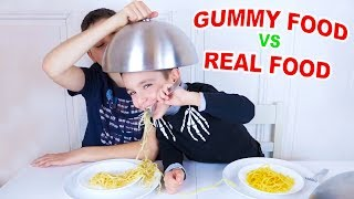 ALL GUMMY FOOD vs REAL FOOD CHALLENGE IN ONE VIDEO !