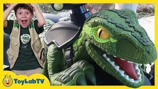 Raptor Blue Dinosaur Pretend Play! Jurassic World Fallen Kingdom Dinosaurs Ride On Toy Car Training
