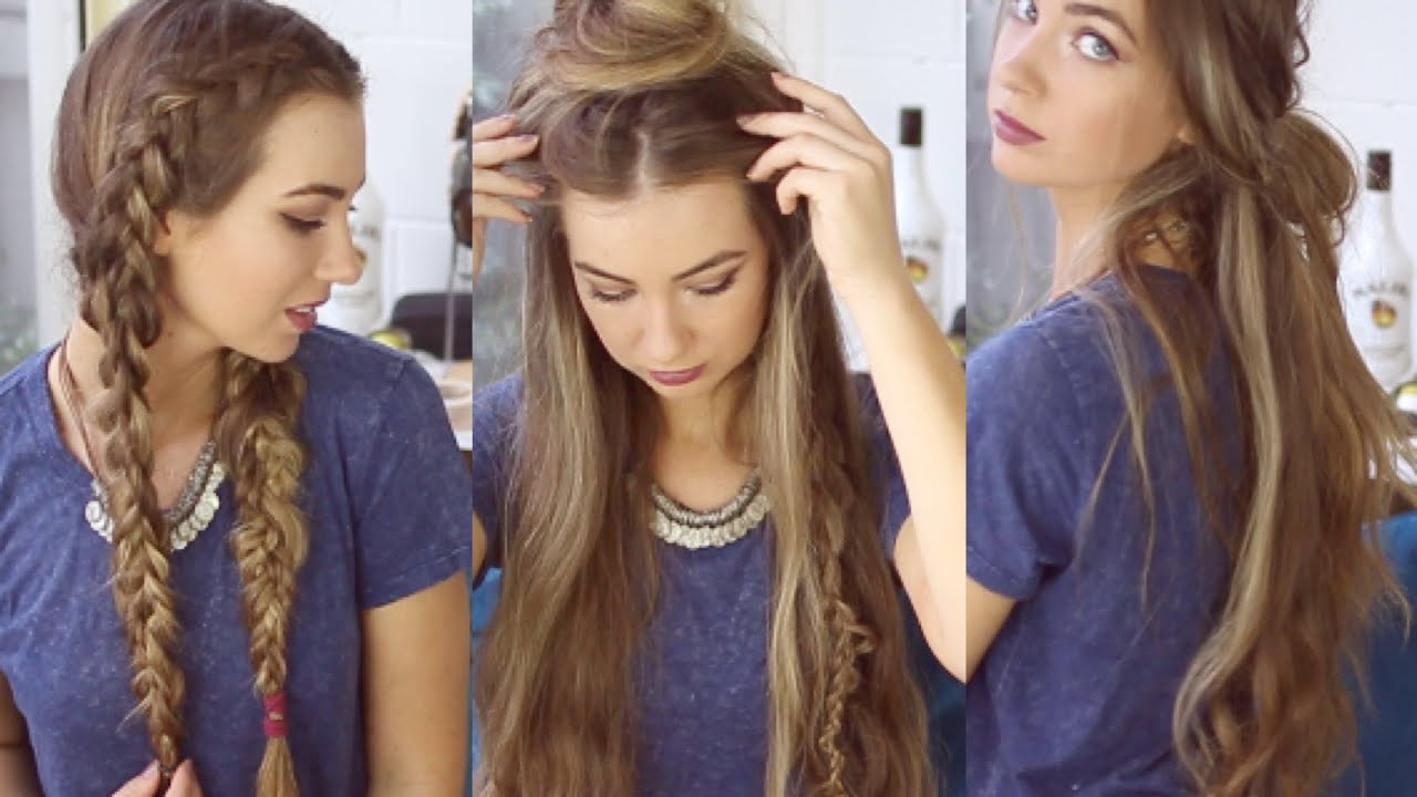 3 QUICK AND EASY BOHO HAIRSTYLES Cute Heatless Hairstyles YouTube