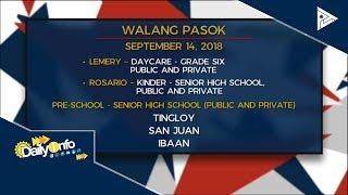 Mga lugar na #WalangPasok ngayong araw, September 14, 2018