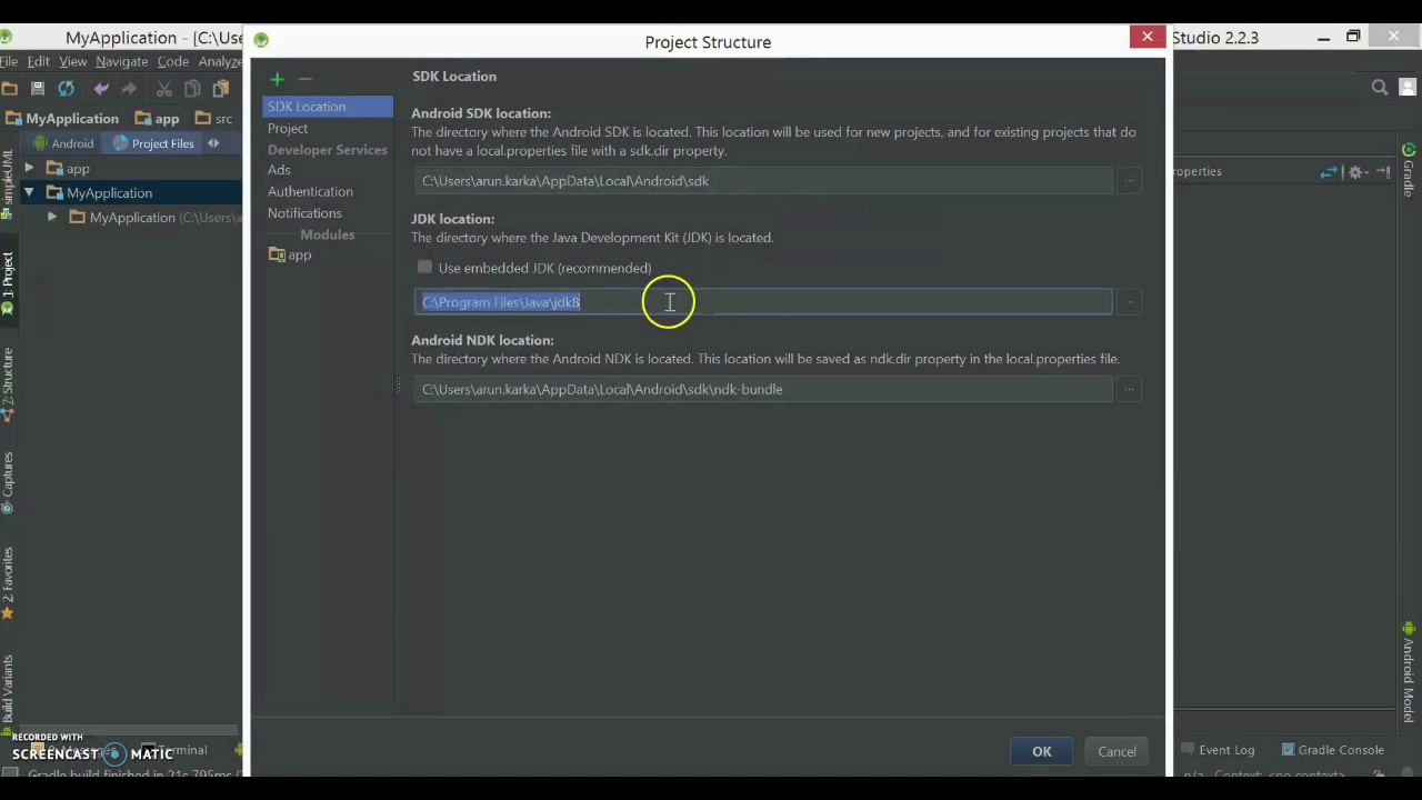 How to set Android SDK location and JDK location in your Android  Studio?(Quick version with Audio)