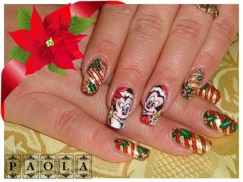 Minnie Nail art Natale Tutorial