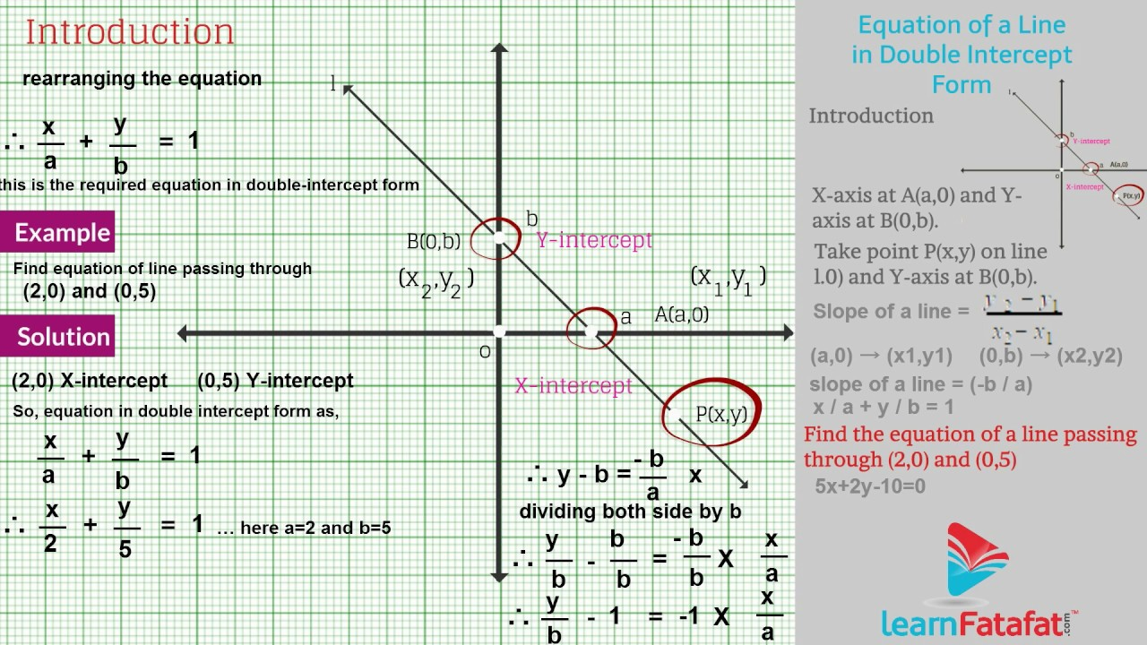 Coordinate geometry std 10 geometry ssc equation of a line in coordinate geometry std 10 geometry ssc equation of a line in double intercept form falaconquin