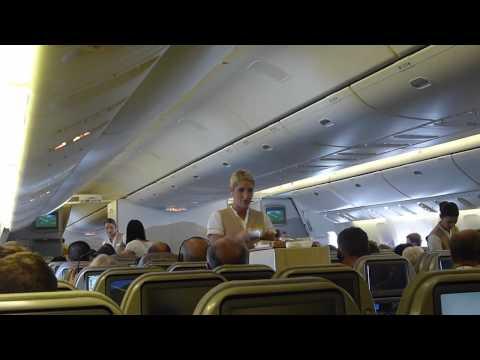 Emirates B777.300ER Inaugural Flight Newcastle To Dubai Economy Full Flight.