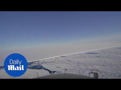 Operation IceBridge flies over gigantic icebergs in the Antarctic