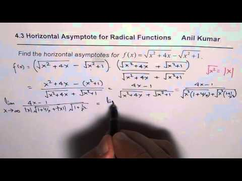 Repeat horizontal asymptotes in a square root by chemi vids how to find horizontal asymptote for radical expressions ccuart Gallery